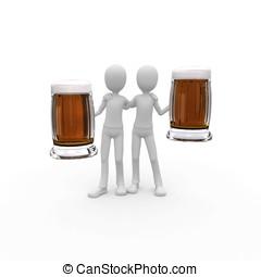 3d, człowiek, z, piwo
