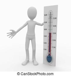 3d, człowiek, z, termometr