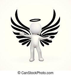 3d, czarnoskóry, anioł