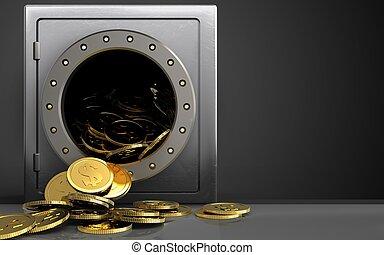 3d, dólar, moedas, sobre, pretas