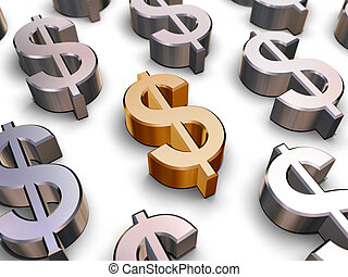 3d, dólar, símbolos