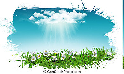 3D daisies in grass with cloud with grunge splat effect - 3D...