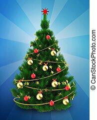 3d dark green Christmas tree over blue