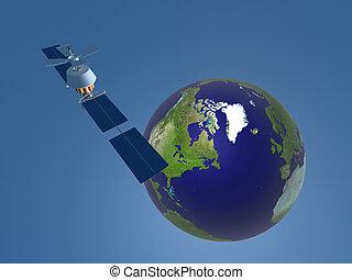 3d, darstellung, von, satellit, in, raum, in, blauer hintergrund