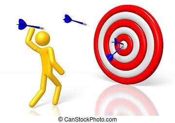 3D dart aim target concept
