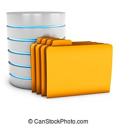 3d database server with folder on white background