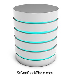 3d database servers isolated on white background