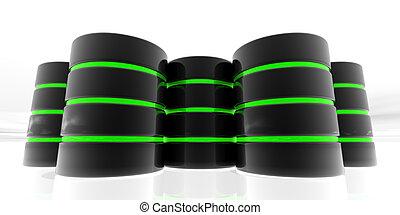 3d, datos, servidores, verde