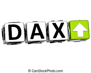 3D DAX Stock Market Block text on white background