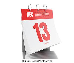 3d Day calendar with date December 13, 2017