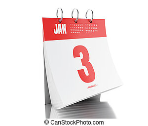 3d Day calendar with date January 3, 2017