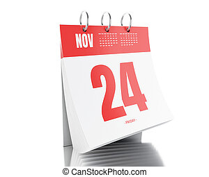 3d Day calendar with date November 24, 2017