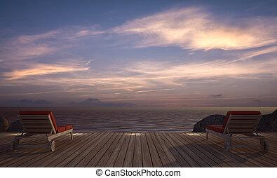 3d, daybed, bois, image, rendre, terrasse, vue mer, crépuscule