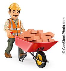 3d, de arbeider van de bouw, met, een, kruiwagen, volle, van, bakstenen