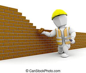 3d, de arbeider van de bouw