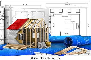 3d, de, cadre, maison