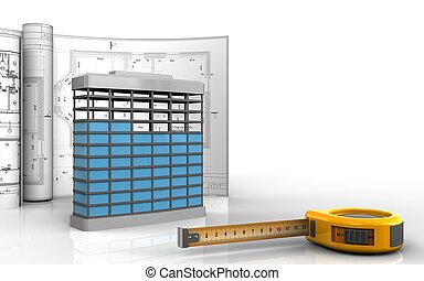 3d, de, construção edifício