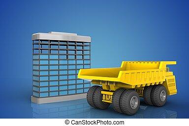 3d, de, construcción edificio
