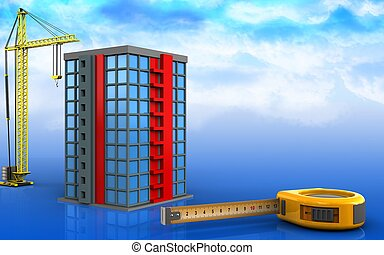 3d, de, edificio