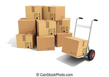 3d, de vrachtwagen van de hand, en, karton bokst, op wit,...