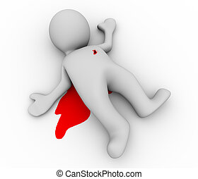 3d dead person - 3d illustration of murder man with blood on...