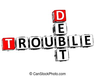 3D Debt Trouble Crossword on white background