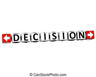 3D Decision Button Click Here Block Text