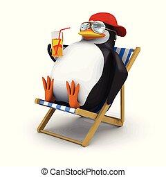 3d, deckchair, se relaja, pingüino