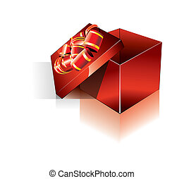 3D Decorated Red Gift Box