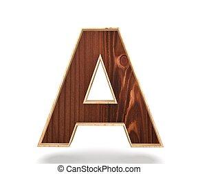 3D decorative wooden Alphabet, capital letter A