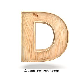 3D decorative wooden Alphabet, capital letter D