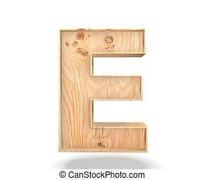3D decorative wooden Alphabet, capital letter E