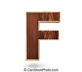 3D decorative wooden Alphabet, capital letter F