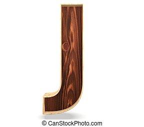 3D decorative wooden Alphabet, capital letter J