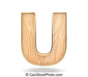 3D decorative wooden Alphabet, capital letter U