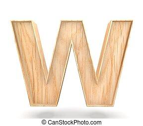 3D decorative wooden Alphabet, capital letter W