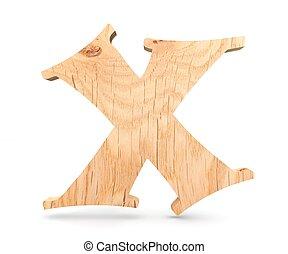 3D decorative wooden Alphabet, capital letter X