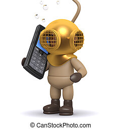 3d Deep sea diver chats on a cellphone - 3d render of a deep...