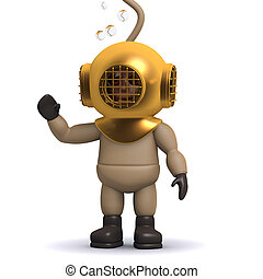 3d Deep sea diver is waving hello - 3d render of a deep sea...