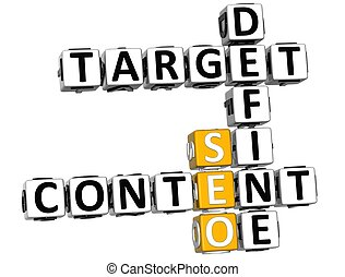 3D Define Target Content Crossword on white background