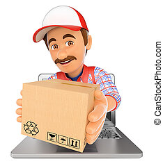 3D Delivery man coming out a laptop screen with a package