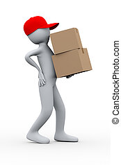3d delivery man having back pain