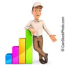 3d delivery man leaning against bar chart