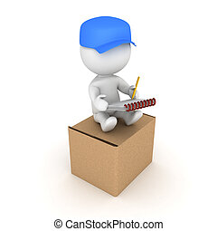 3D Delivery man sitting on top of new package