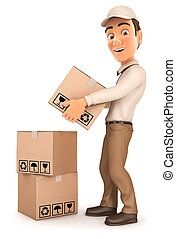 3d delivery man stacking parcels