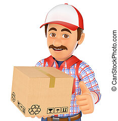 3D Delivery man with a box