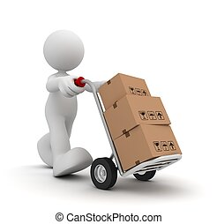 delivery man with hand truck