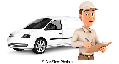3d delivery man with notepad in front of car