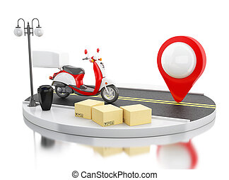 3d Delivery transport with cardboard boxes.
