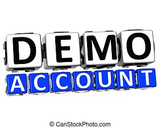 3D Demo Account Button Click Here Block Text over white background
